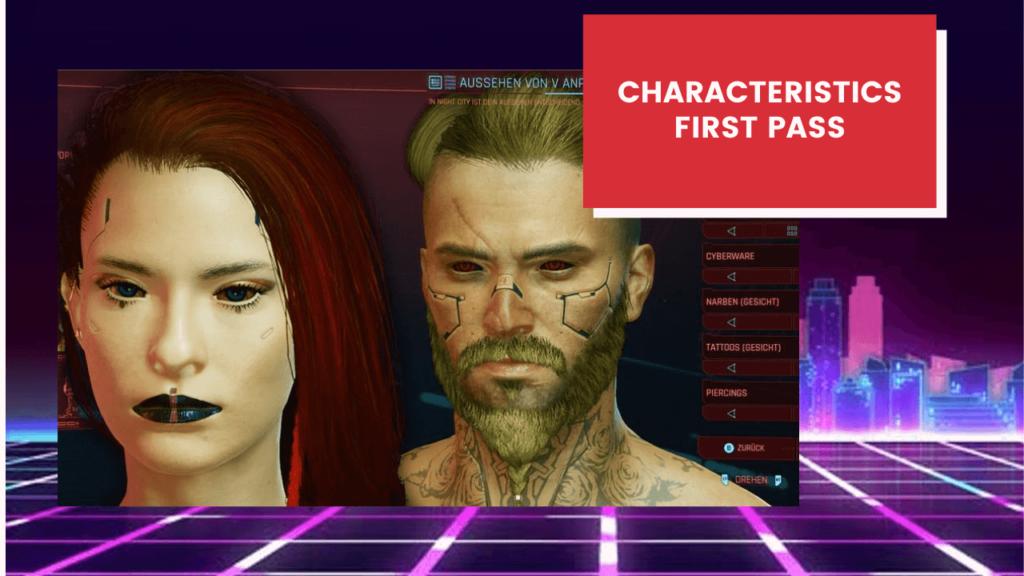 Distribution of characteristics for the first pass in Cyberpunk